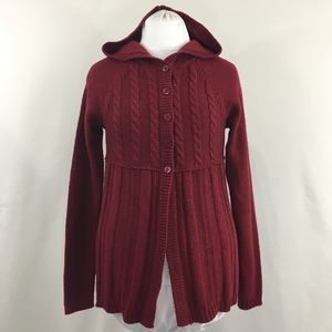 BCBGMAXAZRIA Red Hooded Wool Cardigan Size Large